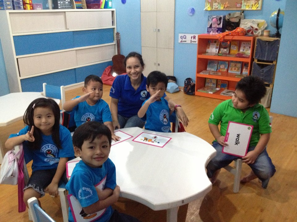 We're so happy learning in our blue room!